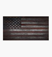 American Flag on Weathered Wood Photographic Print