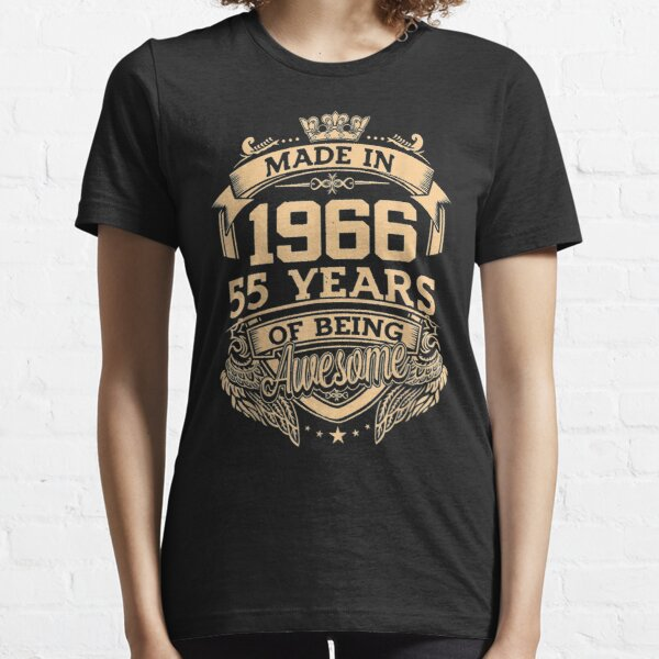 Made In 1966 55 Years Of Being Awesome 55th Birthday Essential T-Shirt