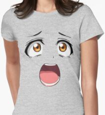 Anime face brown eyes Women's Fitted T-Shirt
