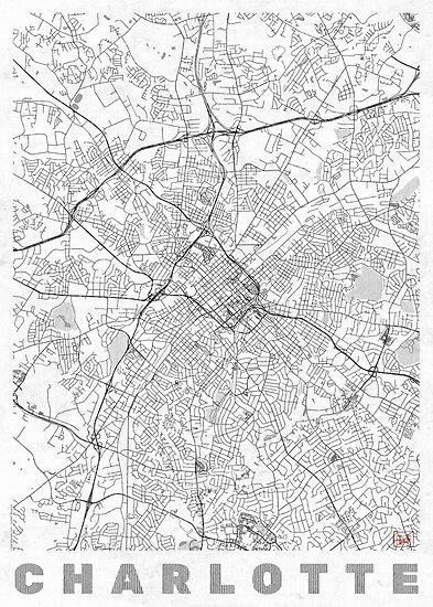 Charlotte Map Line by HubertRoguski