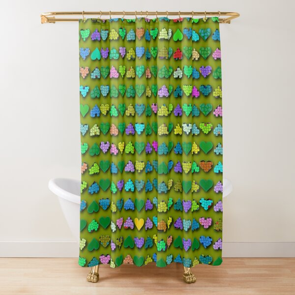 The world full of color hearts Shower Curtain