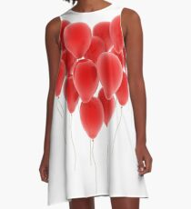 3D group of red balloon formimg a big heart shape A-Line Dress