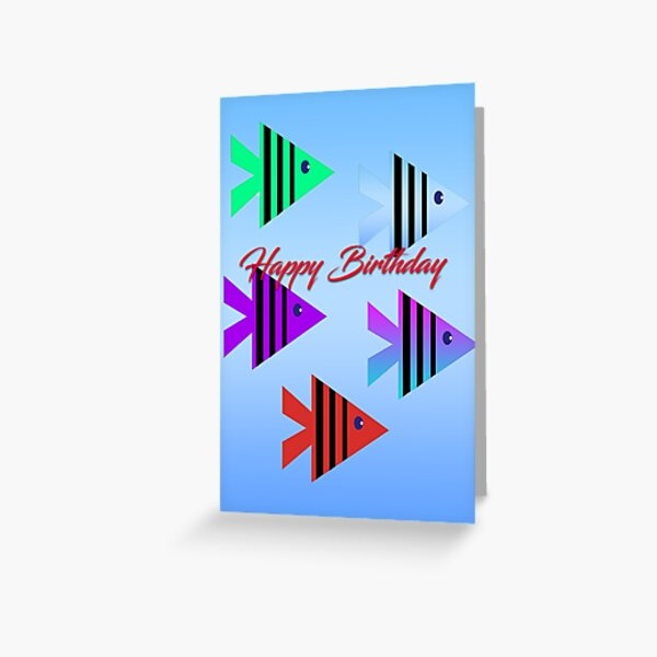 Graphic design of five little fish Birthday Card Greeting Card