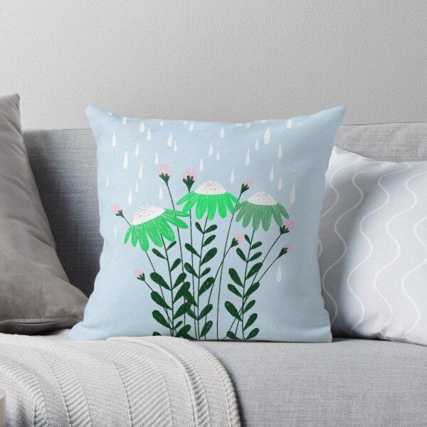 green flowers in the rain illustration Throw Pillow