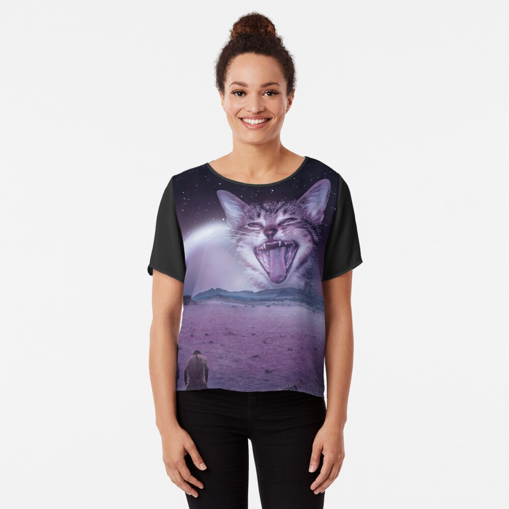 Planet Of The Cats Chiffon Top