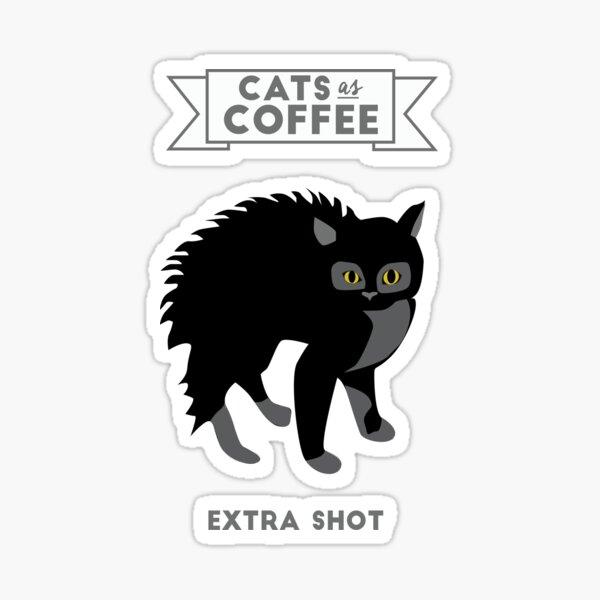 Gatos como café: Tiro extra Pegatina