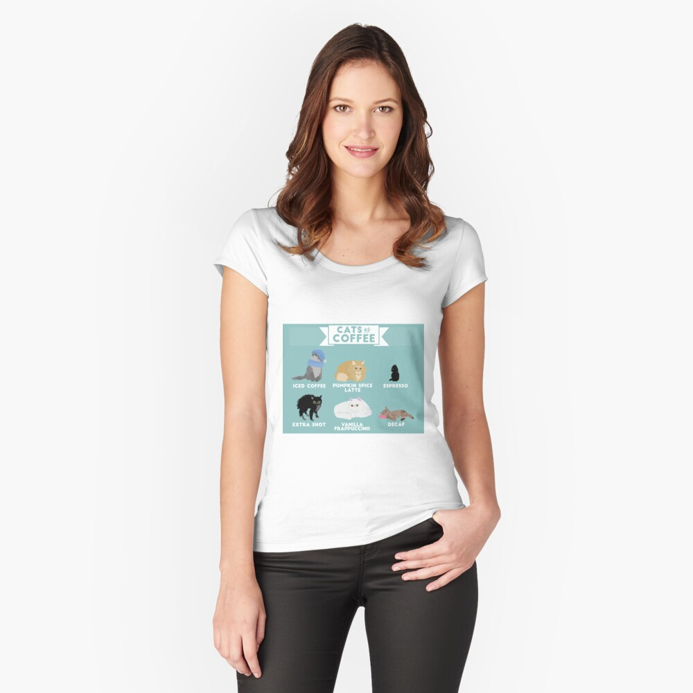 Cats As Coffee Fitted Scoop T-Shirt