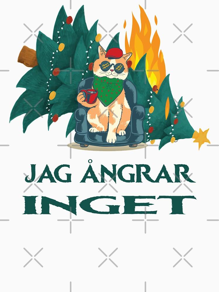 jag ångrar inget // Ich bereue nichts - Schwedisch Weihnachtsmotiv mit Katze und brennendem Christbaum von brainbubbles