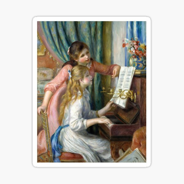 Two Young Girls at the Piano By Pierre-Auguste Renoir Sticker