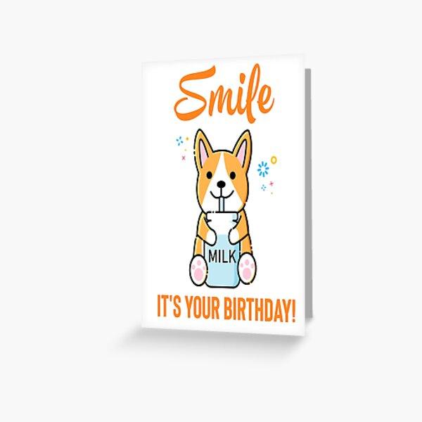 Netter lustiger Geburtstagsentwurf. Lächle, es ist dein Geburtstag. Grußkarte