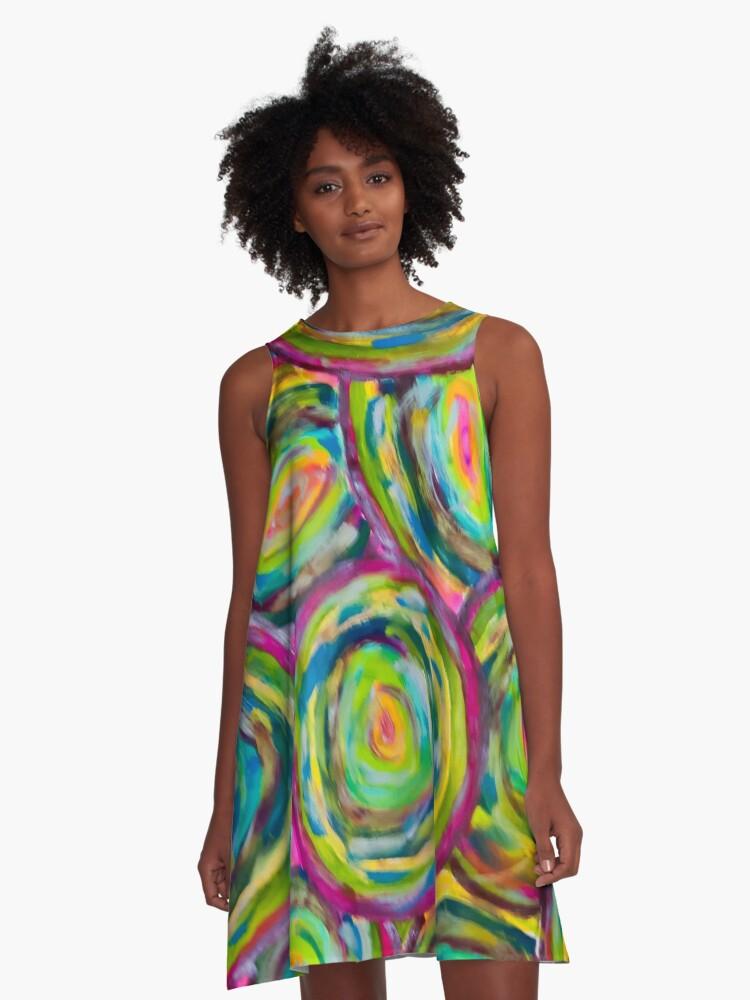 Blue Vicious Circles A-Line Dress Front