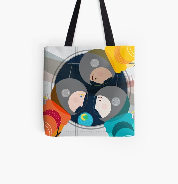 Astronauts in Space All Over Print Tote Bag