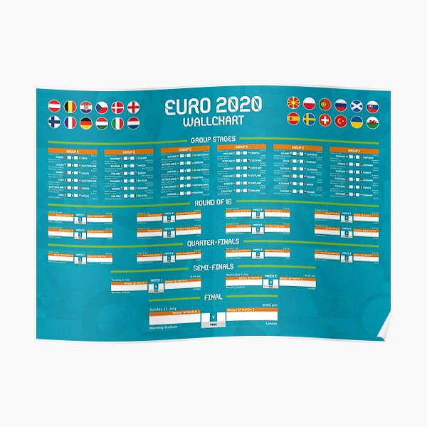 Euro 2020 Match Tracker Wall Chart (UK Times / Updated venue details as per April changes) Poster