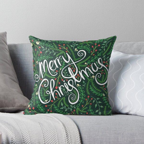 Evergreen Merry Christmas Throw Pillow