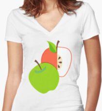 Retro Apple Women's Fitted V-Neck T-Shirt