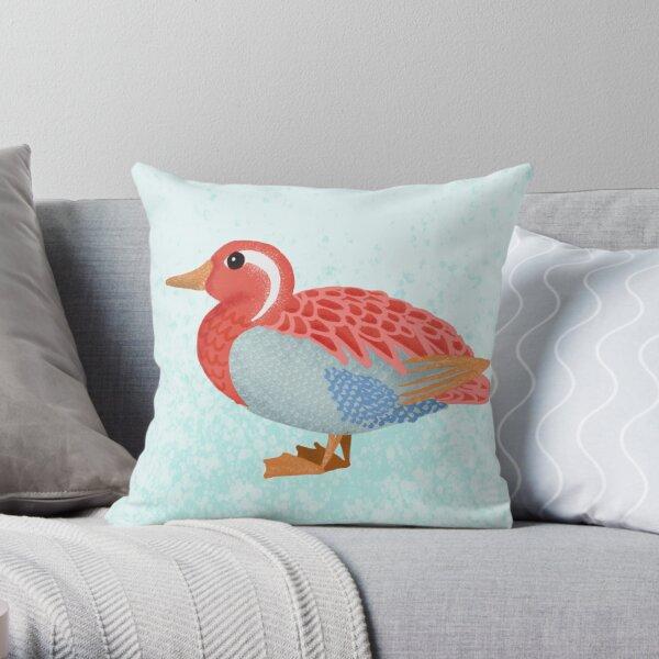 Bright Orange Duck Illustration Throw Pillow
