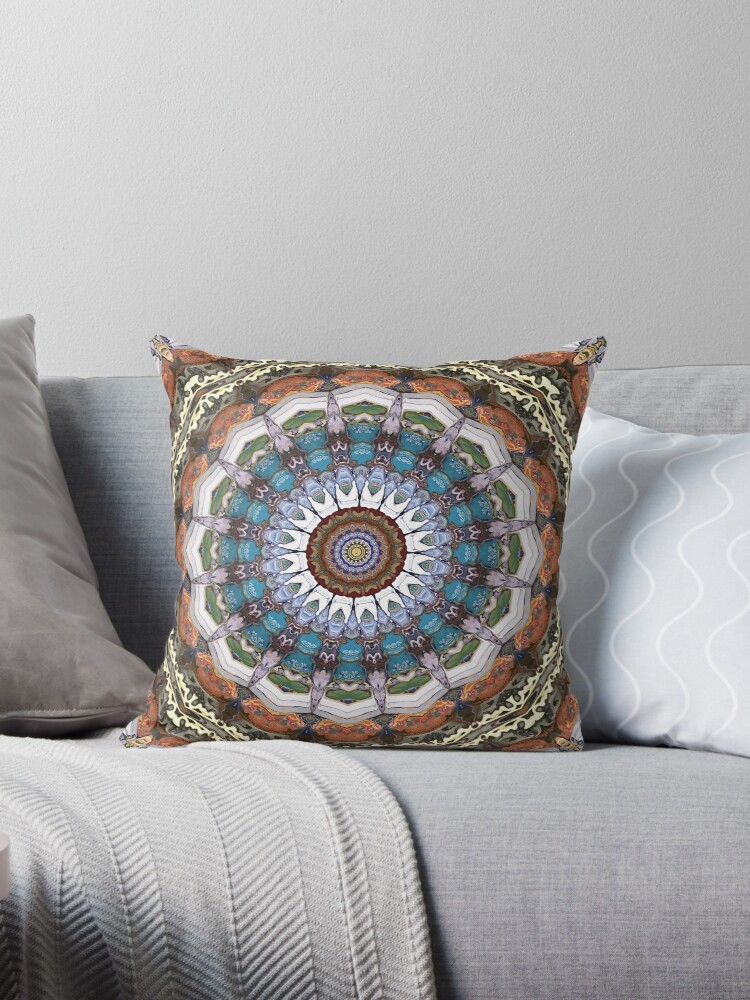Earth Tone Throw Pillows.Earth Tones Mandala Throw Pillow By Phil Perkins