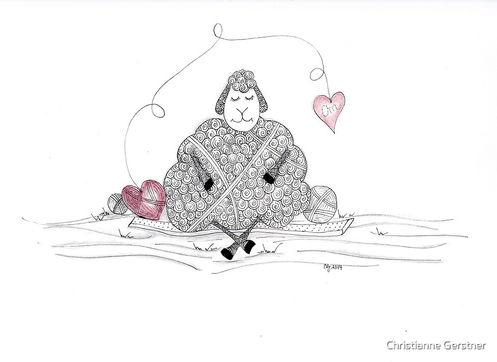 Tangled Yoga Ewe by Christianne Gerstner