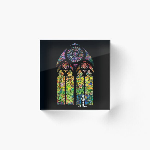 Banksy Stained Glass Church Window Acrylic Block