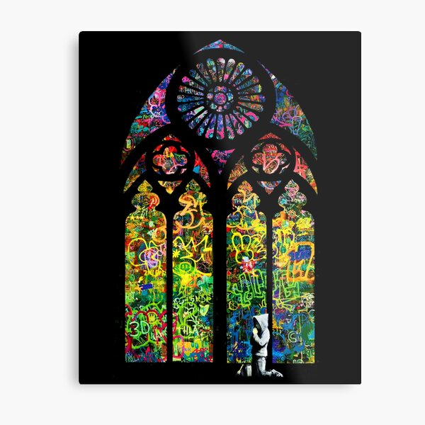 Banksy Stained Glass Church Window Metal Print