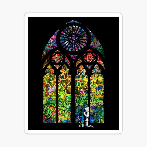 Banksy Stained Glass Church Window Sticker
