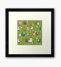 Green, Pink, Teal Birds and Vines Whimsy Framed Print