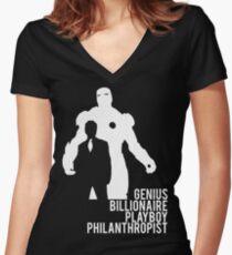 Genius. Billionaire. Playboy. Philanthropist. Women's Fitted V-Neck T-Shirt