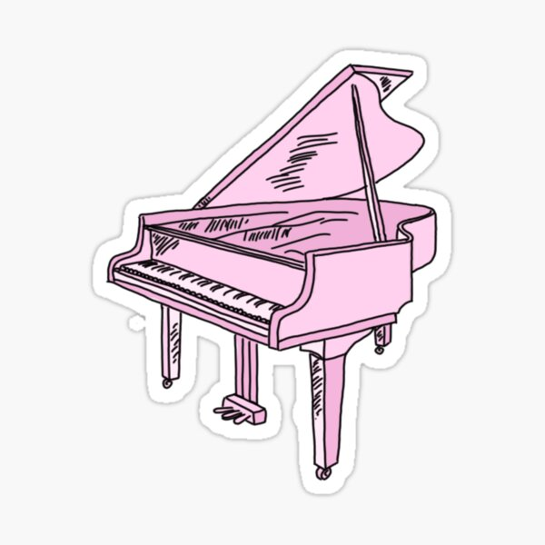 baby pink grand piano Sticker