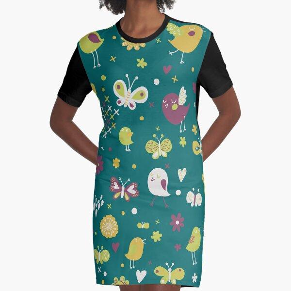 Teal, Chartreuse, Plum Birds and Butterflies Graphic T-Shirt Dress