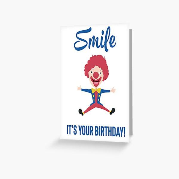 Netter lustiger bunter Geburtstagsclown. Alles Gute zum Geburtstag Zitat Grußkarte