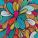 Abstract Retro Flowers Design by T-ShirtsGifts