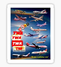 """TWA AIRLINES"" Vintage Airplane Travel Print Sticker"
