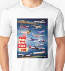 """TWA AIRLINES"" Vintage Airplane Travel Print Unisex T-Shirt"