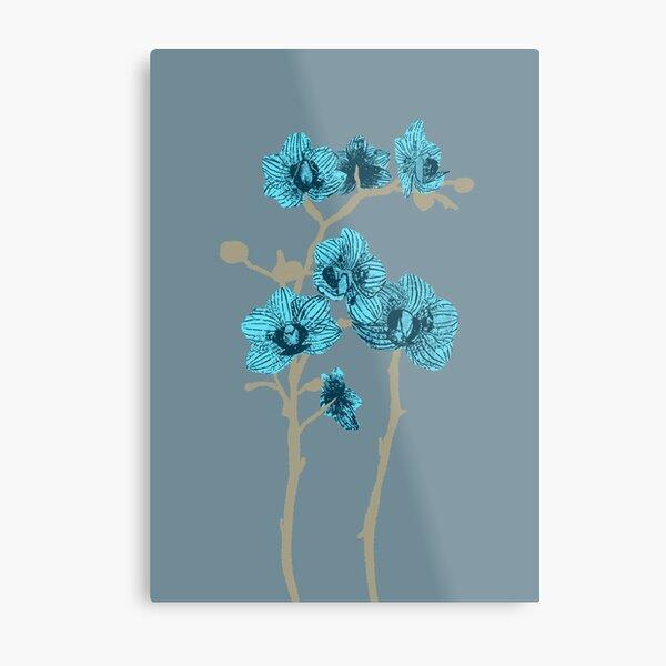 Modern Minimal Orchids in Light Blue Metal Print