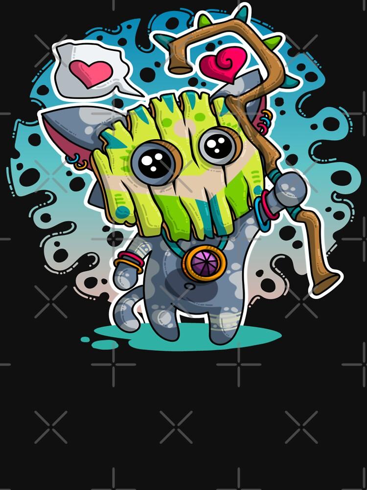 Kawaii Katze mit Voodoo-Maske und Schamanenstab von brainbubbles