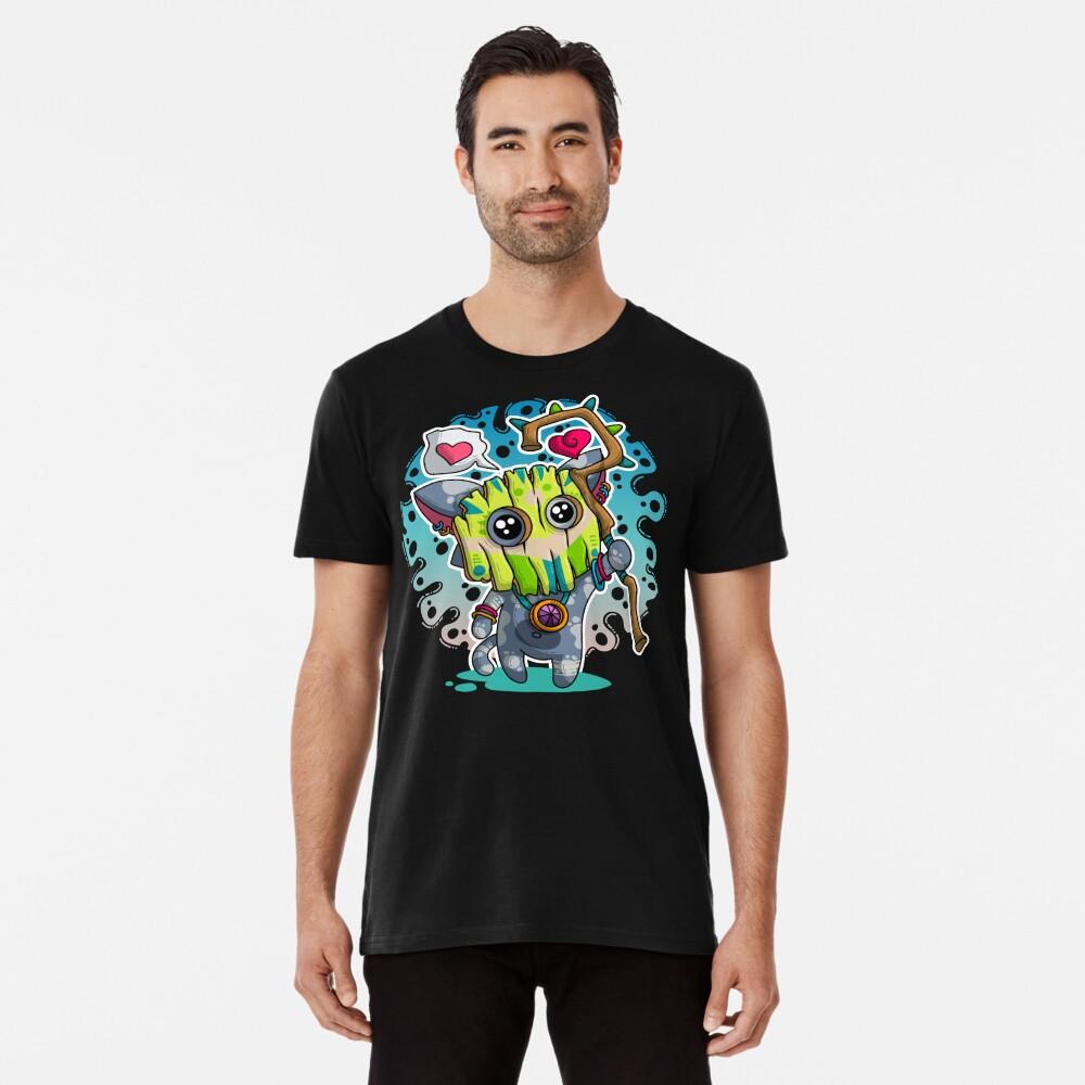 Kawaii Katze mit Voodoo-Maske und Schamanenstab Premium T-Shirt