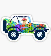 Preppy Jeep Golden Retriever Puppy - Island Beach Vacation Sticker