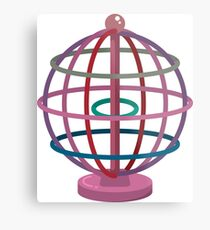 Wired globe cartoon art Metal Print