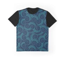 Navy and Teal Ocean Swirls Graphic T-Shirt