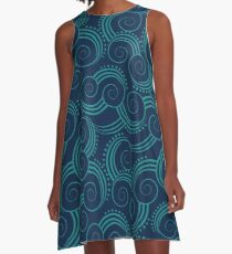 Navy and Teal Ocean Swirls A-Line Dress