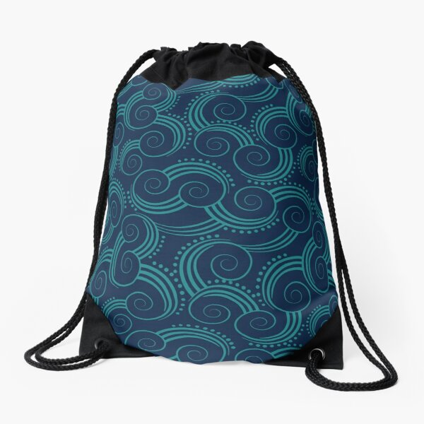 Navy and Teal Ocean Swirls Drawstring Bag