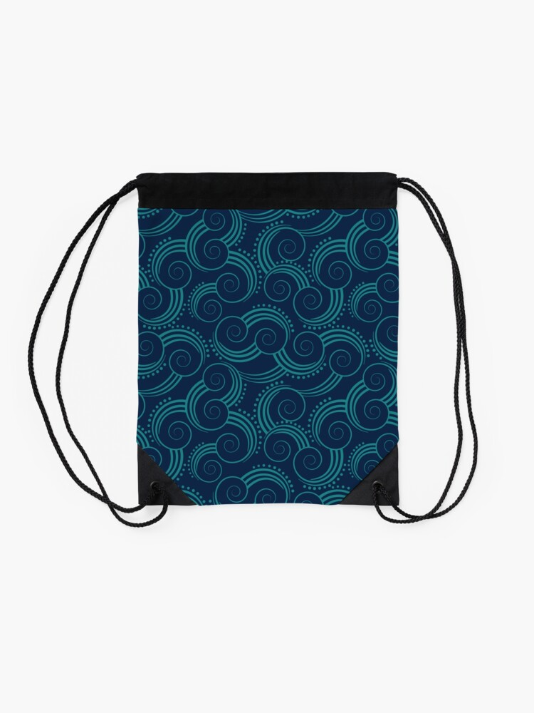 Alternate view of Navy and Teal Ocean Swirls Drawstring Bag