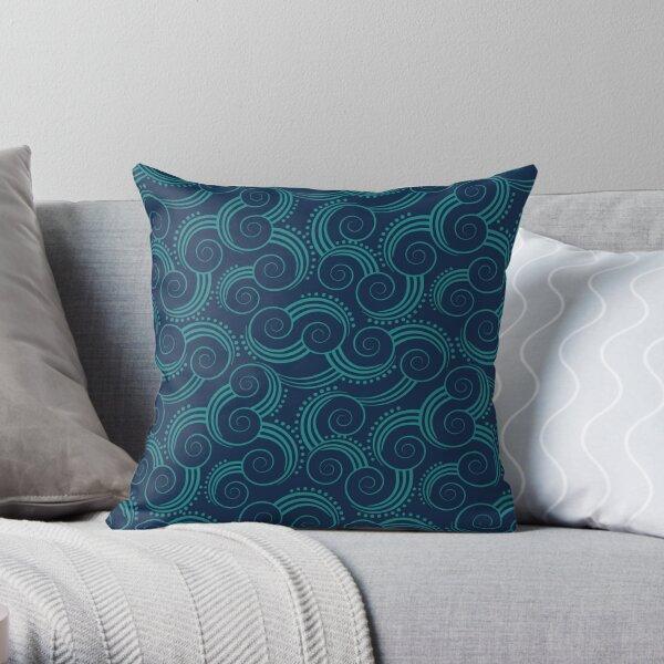 Navy and Teal Ocean Swirls Throw Pillow