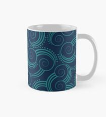 Navy and Teal Ocean Swirls Mug