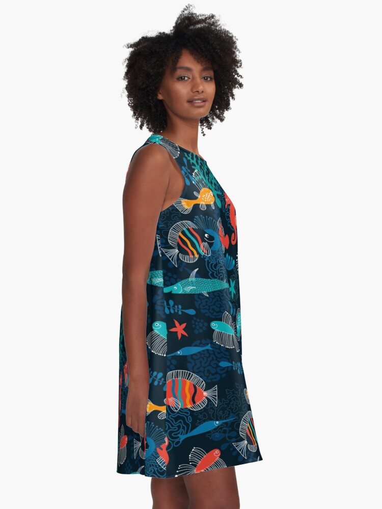 Alternate view of Tropical Fish Under the Sea A-Line Dress