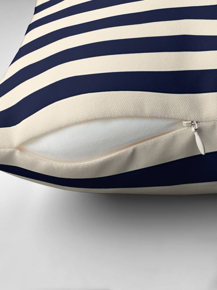 Alternate view of Navy Ivory Bold Stripes Throw Pillow