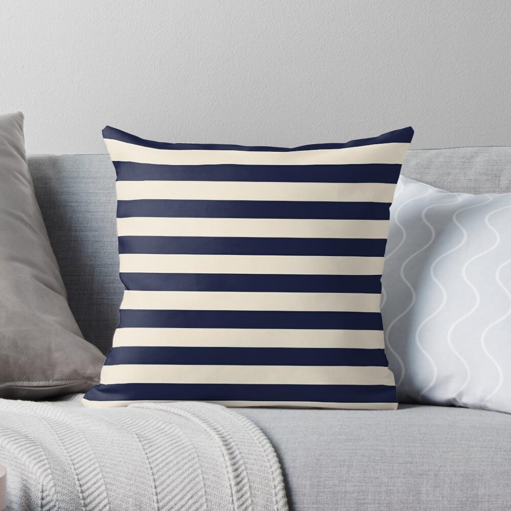 Navy Ivory Bold Stripes Throw Pillow