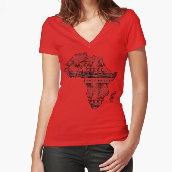 Patterned Map of Africa  Fitted V-Neck T-Shirt