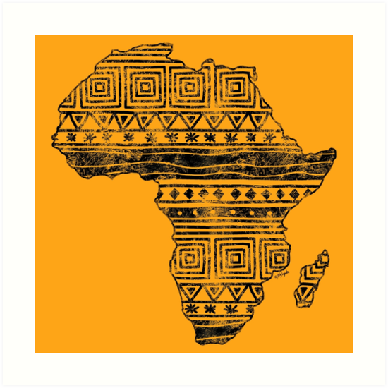 Map Of Africa Art.Patterned Map Of Africa Art Prints By Artvixen Redbubble
