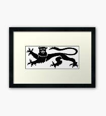 Mythical creature griffin silhouette Framed Print